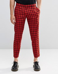 Religion Skinny Cropped Trousers In Check Red