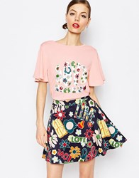 Love Moschino Floral Love Woven Sleeve T Shirt Pink