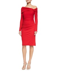 Badgley Mischka Long Sleeve Cocktail Dress W Ruched Shoulder Red