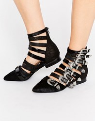 Jeffrey Campbell Psych Multi Buckle Flat Ankle Boots Black Suede