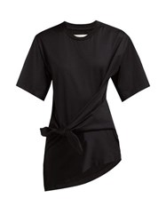 Marques Almeida Marques'almeida Knot Front Cotton Jersey T Shirt Black