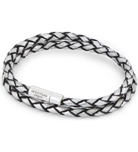 Tateossian Double Wrap Leather Bracelet Silver