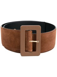 Marni Large Buckle Belt Women Leather Suede 85 Brown