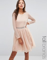 Y.A.S Tall Long Sleeve Dress With Lace Insert Mahogony Rose Pink