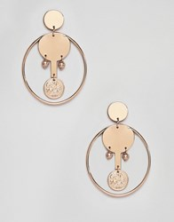 Mango Coin And Hoop Earrings In Gold
