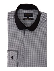 Label Lab Davies Micro Penny Collar Dogtooth Shirt Black White
