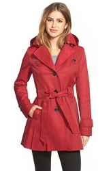 Via Spiga 'Scarpa' Single Breasted Hooded Trench Coat Rebel Red