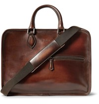 Berluti Deux Jours Polished Leather Briefcase Chocolate
