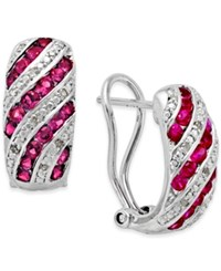 Macy's Gemstone 1 Ct. T.W. And Diamond Accent Omega Earrings In Sterling Silver Red
