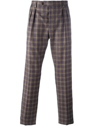 Al Duca D'aosta 1902 Checked Tailored Trousers Pink Purple