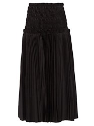 Khaite Rosa Pleated Cotton Poplin Midi Skirt Black