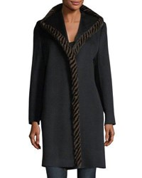 Fleurette Magnetic Wool Coat W Spiral Mink Fur Black