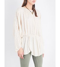 Free People Little Shine Embellished Metallic Tunic Ivory