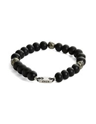 Zack Onyx And Pyrite Beaded Stretch Bracelet