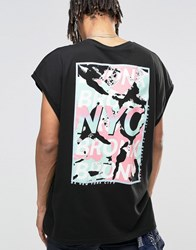 Asos Longline T Shirt With Nyc Bronx Pastel Back Print Black