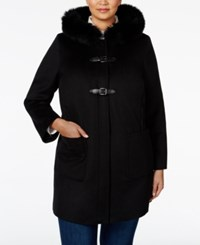 Forecaster Plus Size Fox Fur Trim Hooded Coat Only At Macy's Black