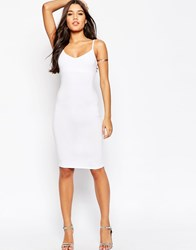 Asos Midi Cami Body Conscious Dress White