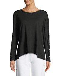 Monrow Slouchy Star Embroidered Scoop Neck Top Black