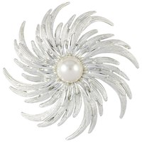 Susan Caplan Vintage Bridal 1960S Sarah Coventry Silver Plated Faux Pearl Pinwheel Brooch Silver Pearl