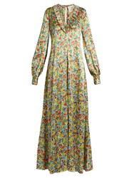 Bonnie Young Floral Print Ruffle Trimmed Silk Gown Multi