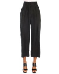 Donna Karan Cropped Pleated Canvas Pants Women's Size 8 Black