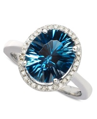 Macy's London Blue Topaz 4 Ct. T.W. And Diamond 1 8 Ct. T.W. Oval Ring In 14K White Gold