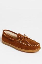 Men's Minnetonka Suede Moccasin Brown Suede