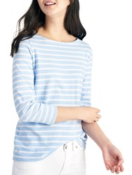 Joules Harbour Luxe Stripe 3 4 Sleeve Jersey Top Sky Blue Silver