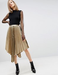 Asos Metallic Pleated Midi Skirt With Hanky Hem Gold