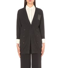 Brunello Cucinelli Beaded Patch Pocket Cashmere Cardigan Black Stone