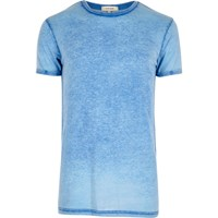 River Island Mens Dark Blue Burnout T Shirt