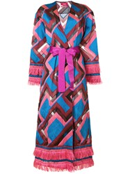 F.R.S For Restless Sleepers Chevron Print Robe Coat Pink And Purple