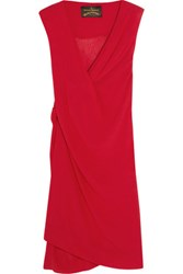 Vivienne Westwood Anglomania Stitch Draped Crinkled Georgette Dress Red