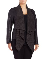 Jones New York Plus Fly Away Distressed Foil Ponte Drape Cardigan Black
