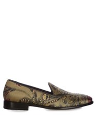 Etro Silk Brocade Loafer Green Multi