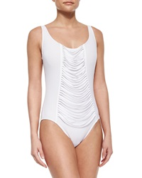 Karla Colletto One Piece Underwire Swimsuit With Fringe Front White