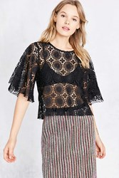 Kimchi And Blue Ashley Crochet Flutter Sleeve Tee Black