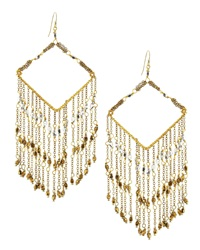 Nakamol Chevron Beaded Chain Fringe Earrings Golden Silvertone