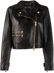 Versace Off Centre Zipped Leather Jacket Black