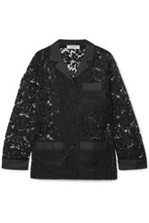 Valentino Satin Trimmed Corded Lace Shirt Black