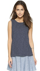 Cupcakes And Cashmere Vista Lace Back Tank Navy