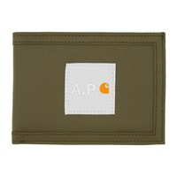 A.P.C. Khaki Carhartt Wip Edition Card Holder
