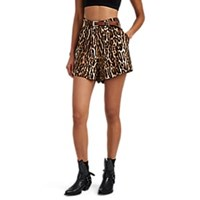 R 13 Leopard Print High Rise Pleated Shorts Multi