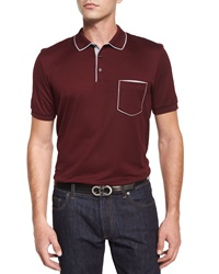 Salvatore Ferragamo Tipped Pocket Polo Shirt Wine