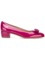 Salvatore Ferragamo Mid Heel Ornament Pumps Pink Purple