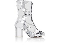 Maison Martin Margiela Women's Paillette Embellished Leather Ankle Boots Silver