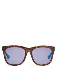 Gucci Tortoiseshell Square Frame Sunglasses Brown Multi