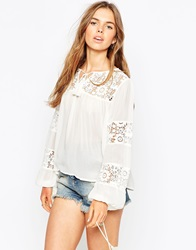 Asos 70S Boho Blouse With Lace Insert Ivory