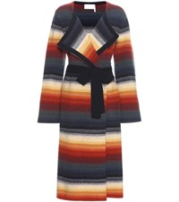 Chloe Knitted Merino Wool And Cashmere Coat Multicoloured