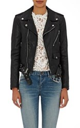 Saint Laurent Women's Dome Studded Leather Moto Jacket Black